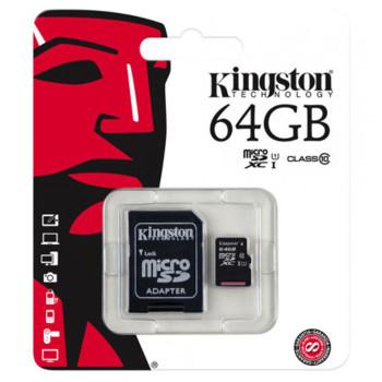 Карта памяти Kingston microSDHC 64GB Class10 Black