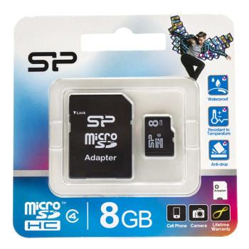 Карта памяти Silicon Power microSDHC 8GB Class 4 Black