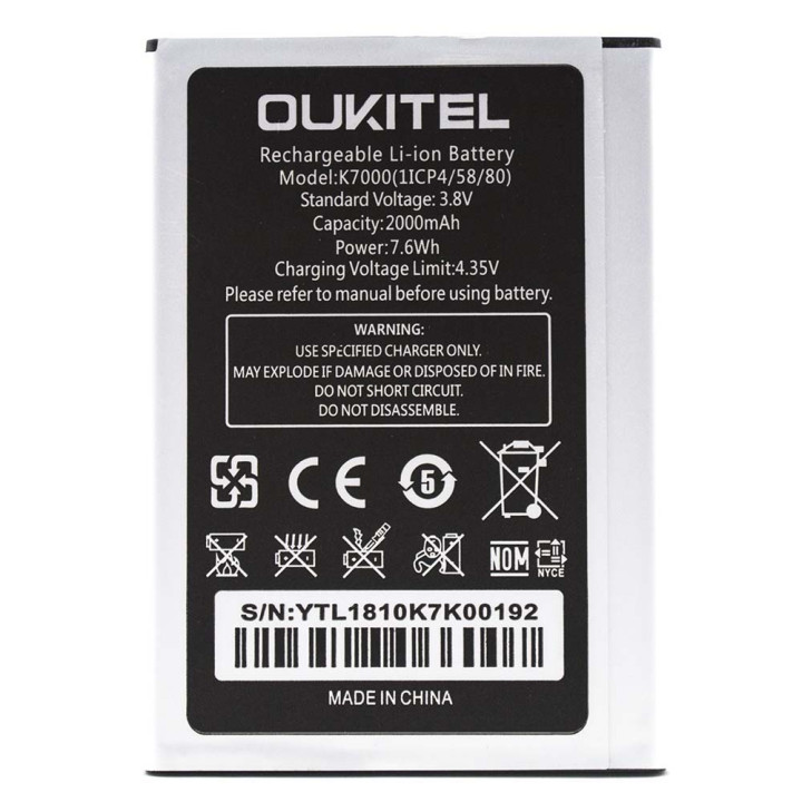 Аккумулятор для Oukitel K7000 (Original), 2000 mAh