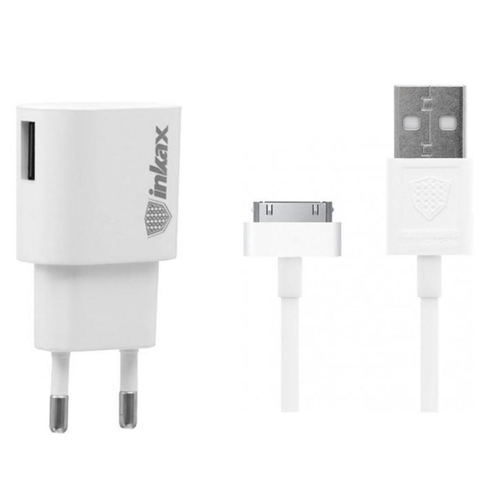 Сетевое зарядное устройство Inkax CD-08 USB 1A 30-PIN 1м, White