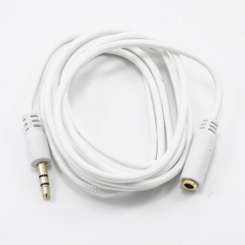 Aux кабель подовжувач 1.5М з тканинним обплетенням White