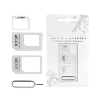 Перехідник Micro/Nano Sim Adapter Noosy, White