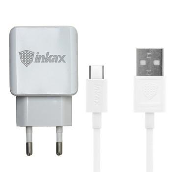 Сетевое зарядное устройство Inkax CD-01 2 USB 2.4A Type-C 1м, White