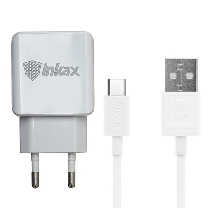 Мережевий зарядний пристрій Inkax CD-01 2 USB 2.4A Type-C 1м, White