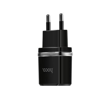 Сетевое зарядное устройство HOCO C12 2USB 2.4A, Lightning 1м