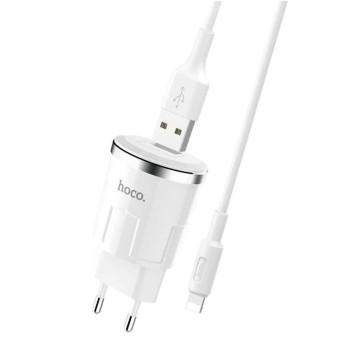 Сетевое зарядное устройство Hoco C37A USB 2.4A Lightning 1м White