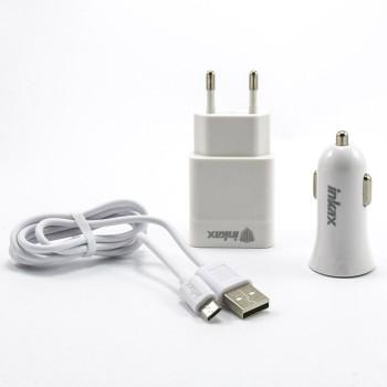 Зарядний пристрій Inkax CD-43 (мережевий + автомобільний) 1A Micro-USB, White