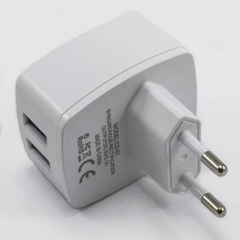Сетевое зарядное устройство Inkax CD-51 2USB 3.1а без кабеля White