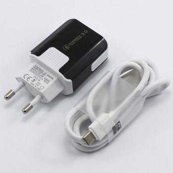 Мережевий зарядний пристрій MobiLand HZXD-064 QC 3.0 USB 3.1А, Type-C 1м, Black