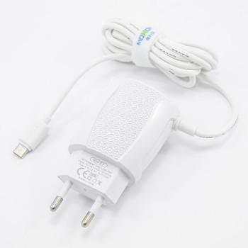 Мережевий зарядний пристрій Moxom KH-51 2USB 2.4A micro USB 1м, White