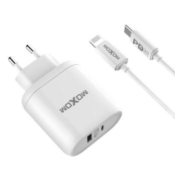 Сетевое зарядное устройство Moxom PD-08 QC 3.0 USB-C 3A Type-C - Lightning 1м, White