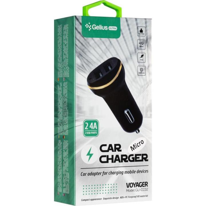 Автомобильное зарядное устройство Gelius Ultra Voyager GU-CC02 2USB 2.4A, Lightning, Black