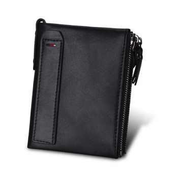 Шкіряний чоловічий гаманець RFID чорний