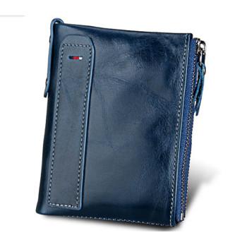 Шкіряний чоловічий гаманець RFID синій