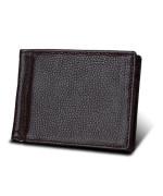 Мужской кошелек RFID с зажимом для купюр коричневый