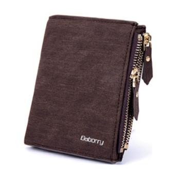 Чоловічий гаманець з еко-шкіри Baborry FQB-07 коричневий