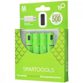 Комплект 4шт. багатозарядних батарейок Smartoools USB 4АА 1000mah + зарядка