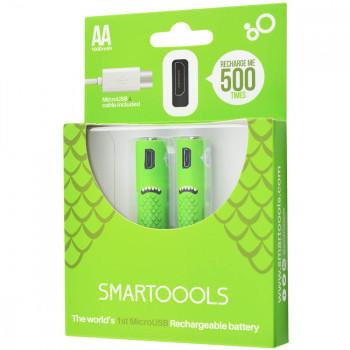 Комплект 2шт. багатозарядних батарейок Smartoools USB 2АА 1000mah + зарядка