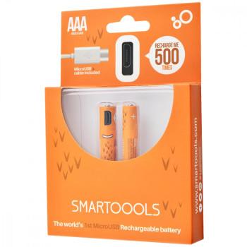 Комплект 2шт. багатозарядних батарейок Smartoools USB 2ААA 1000mah + зарядка