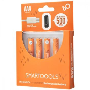 Комплект 4шт. багатозарядних батарейок Smartoools USB 4ААA 1000mah + зарядка