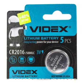 Батарейка Videx CR2016 5000LC 3V, Silver