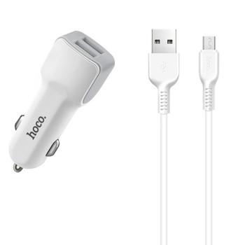 Aвтомобільний зарядний пристрій Hoco Z23 2.4A, 2 USB micro USB White