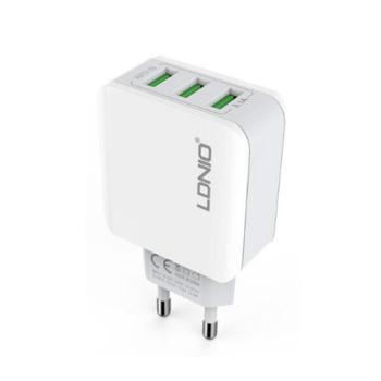 Мережевий зарядний пристрій LDNIO A3301 на 3 порти USB, 3.1А, без кабеля, White, без кабеля