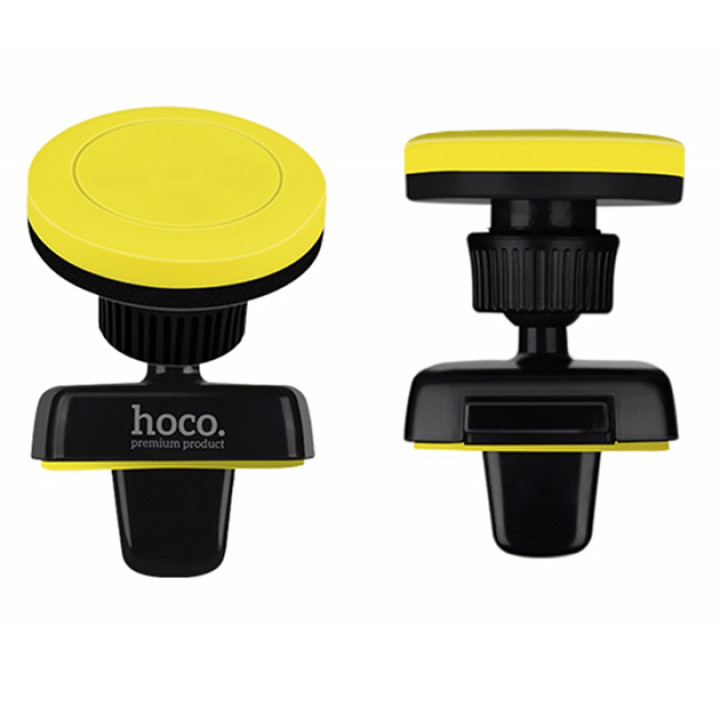 Автомобильный магнитный держатель Hoco CA16 для смартфонов в дефлектор Black Yellow