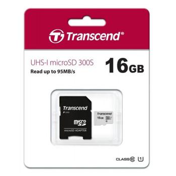 Карта пам'яті Transcend 300S microSDHC 16GB Class10 + SD адаптер, Silver