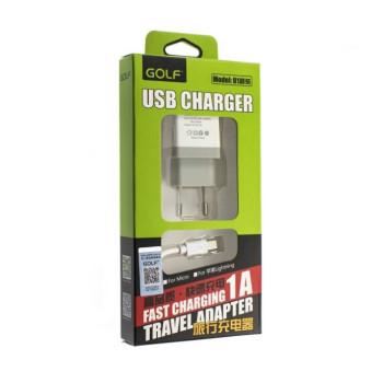 Зарядное устройство GOLF c SET 1А   кабель Micro USB White