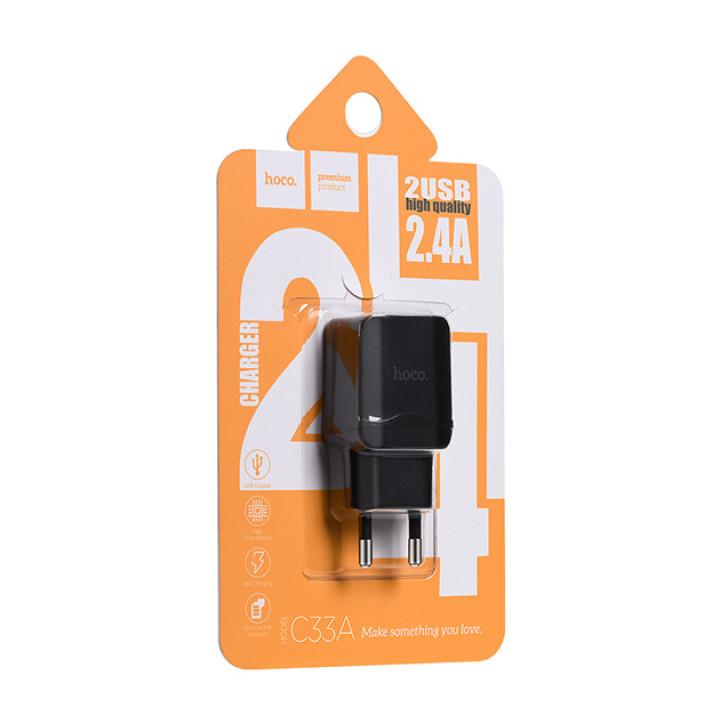 Сетевое Зарядное Устройство Hoco C33A Micro USB (Black), без кабеля