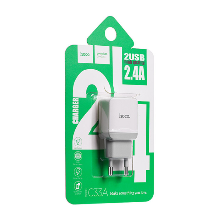 Сетевое Зарядное Устройство Hoco C33A Micro USB (White), без кабеля