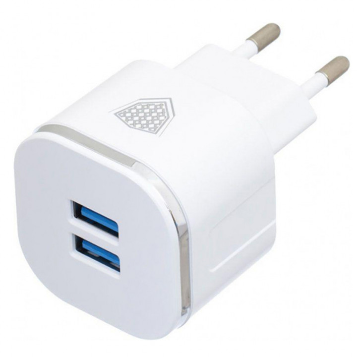 Сетевое зарядное устройство Inkax CD-20 2 USB 2.4A Lightning 1м, White