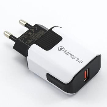 Мережевий зарядний пристрій MobiLand HZXD-064 QC 3.0 USB 3.1А, lightning 1м, White