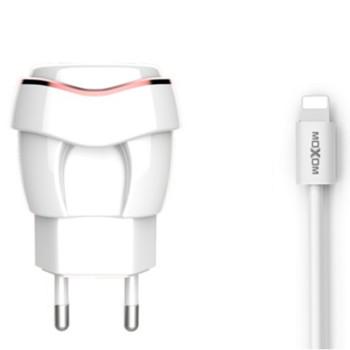 Сетевое зарядное устройство Moxom KH-35 2.4A lightning 1м, White