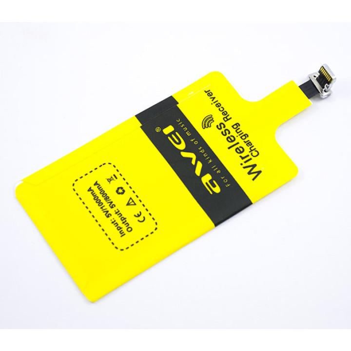 QI приемник для беспроводной зарядки AWEI Lightning, iOS Yellow