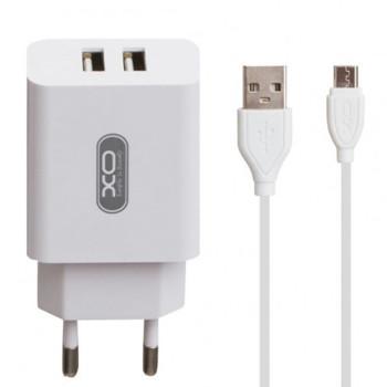 Сетевое зарядное устройство XO L17 2 USB 2.1A Micro 1м, White