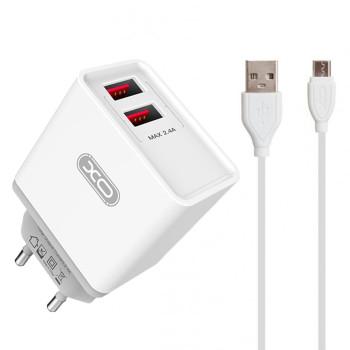 Мережевий зарядний пристрій XO L31 2 USB 2.4A Micro 1м, White