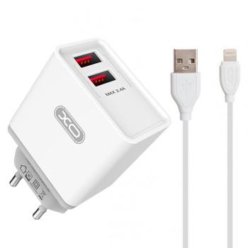 Мережевий зарядний пристрій XO L31 2 USB 2.4A Lghtning 1м, White