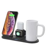 Безпровідний зарядний пристрій ZBS N39 4 в 1 для смартфонів з технологією Qi, Apple Watch, AirPods + функція підігріву чашки, Black