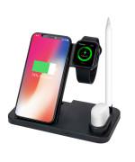 Беспроводное зарядное устройство ZBS W30 4 в 1 для смартфонов с технологией Qi, Apple Watch, Apple Pencil, AirPods, Black